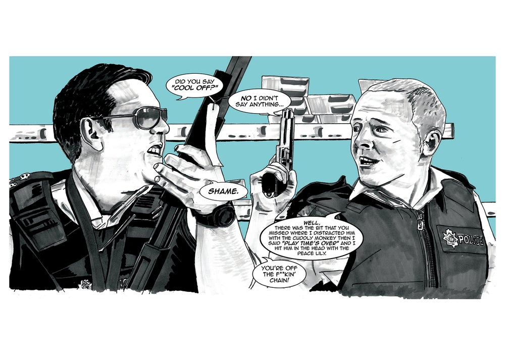 Image of Hot Fuzz Comic Style Illustration A3 Signed Print