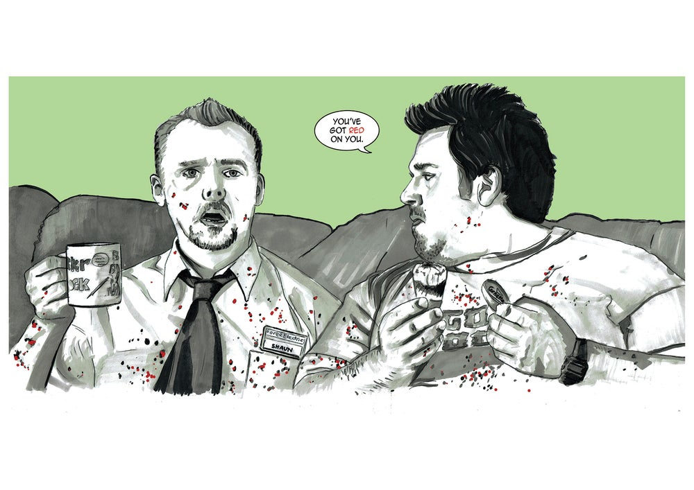 Image of Shaun Of The Dead Comic Style Illustration A3 Signed Print