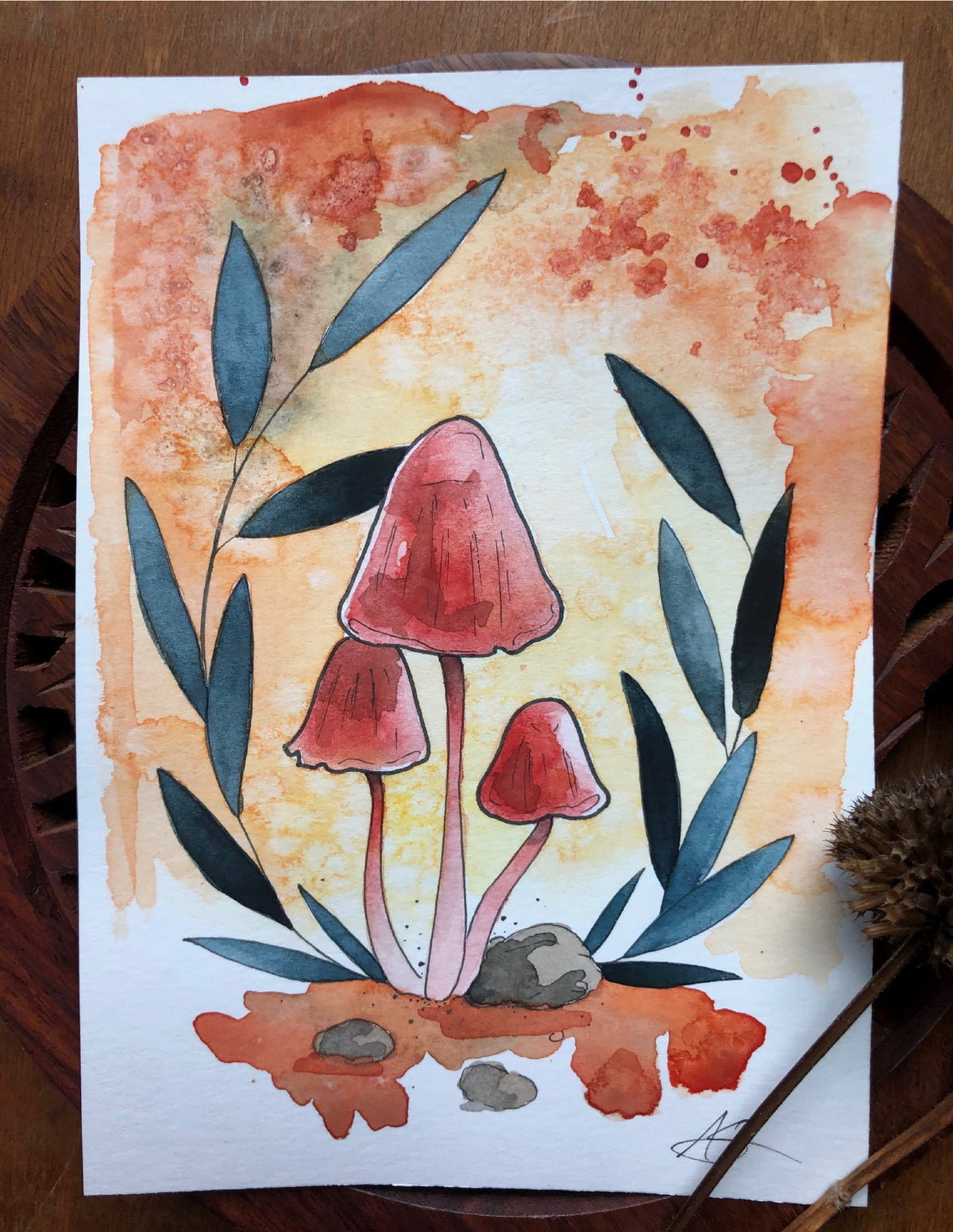 "Pink Mycena | 5 X 7"" Original Watercolor"