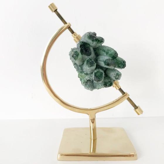 Image of Green Phantom Quartz Crystal Cluster no.05 + Brass Arc Stand