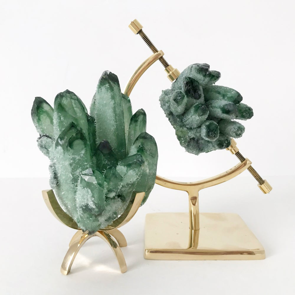 Image of Green Phantom Quartz Crystal Cluster no.05 + Brass Arc Stand