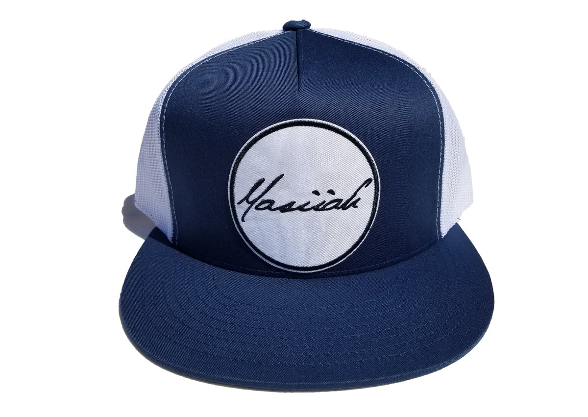 Image of Script Patch Mesh Snapback (navy/white)