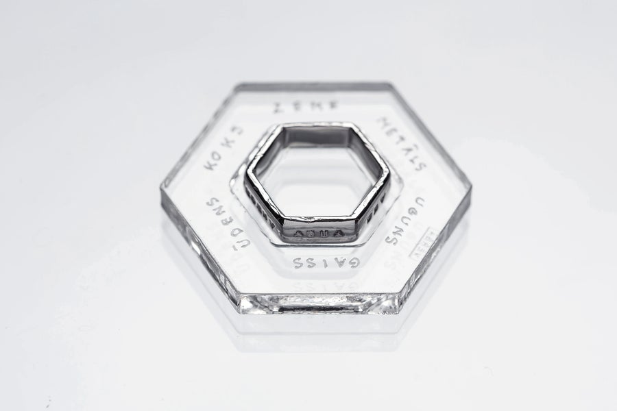 Image of silver hexagon ring with inscription in Latin