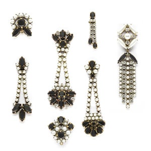 Image of VINTAGE RHINESTONE & EBONY EAR CLIPS