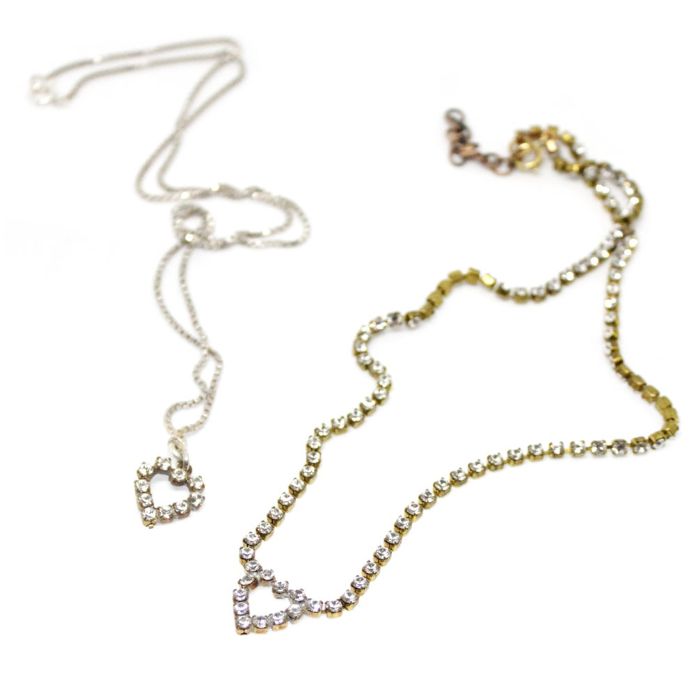 Image of VINTAGE RHINESTONE HEART NECKLACES