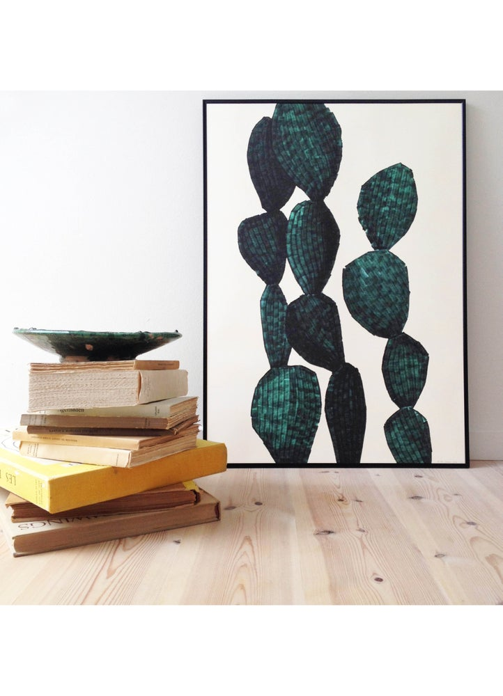 Image of Cactus Opuntia Green Lilited 50X70cm