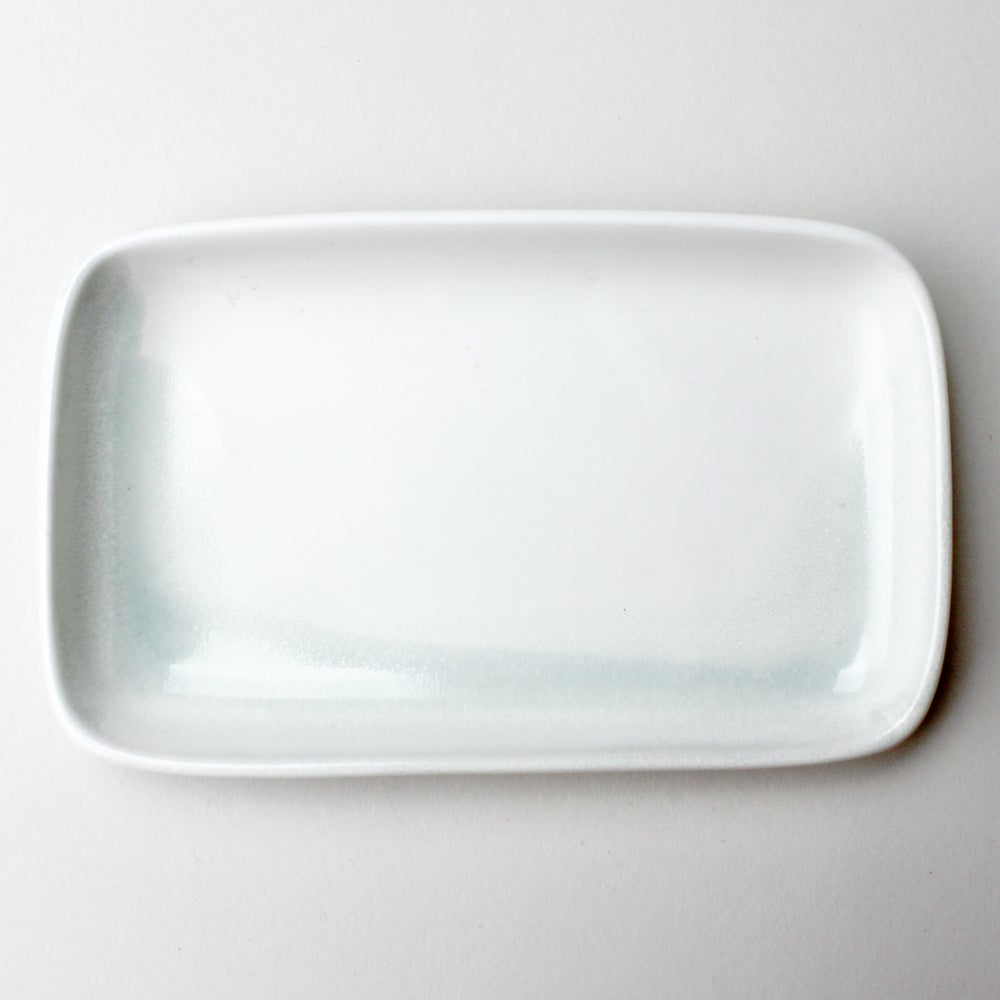 Image of small rectangular tray, celadon watercolor