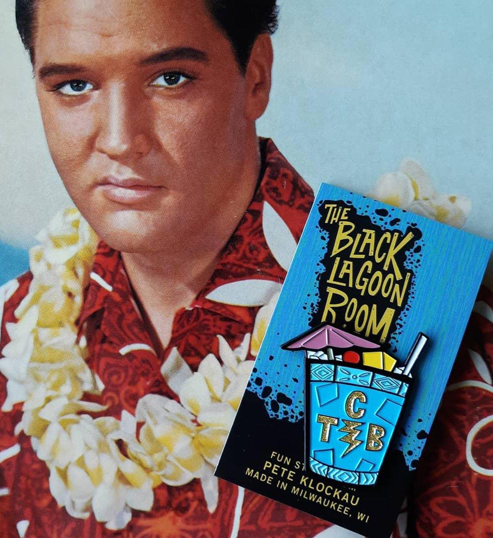 "TCB(lue Hawaiian) Elvis Tribute Glitter Enamel 1.75"" Pin"