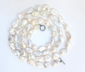 Image of White Baroque Long Strand Bamboo Clasp