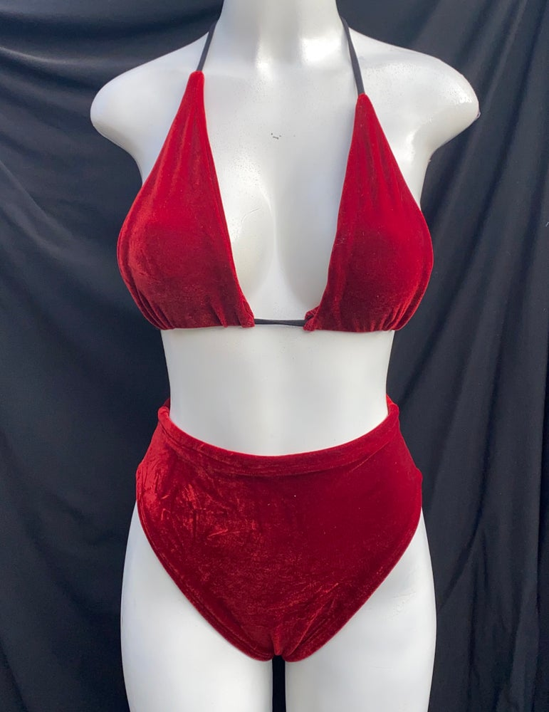 Image of  velvet set (high cut/high waist bottoms, halter top)