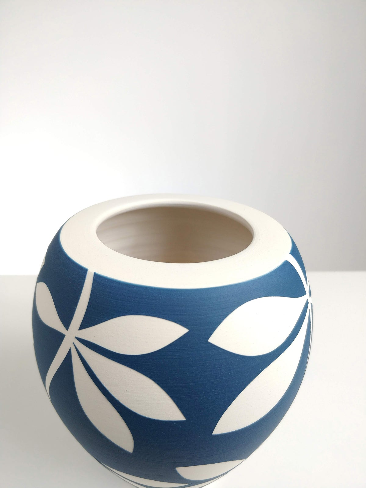 Image of Small Sea Blue & White Leaf Vase