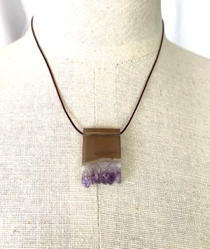 Natural Amethyst Slice Necklace