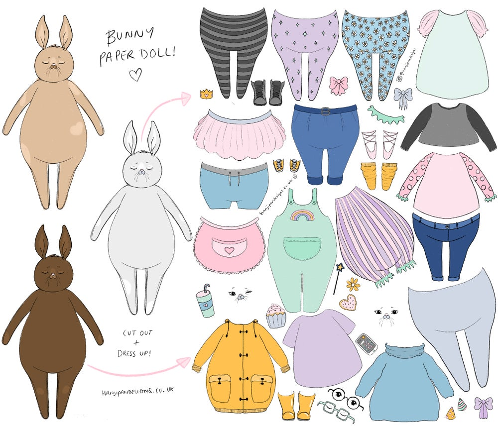 Image of Bunny Paper Doll Printable / Digital Activity