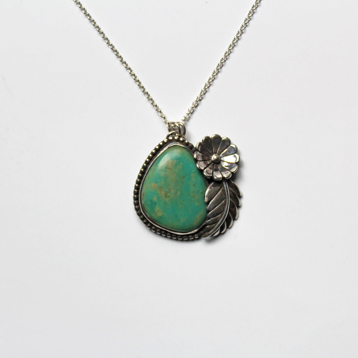 Image of Turquoise Floral Sterling Silver Necklace