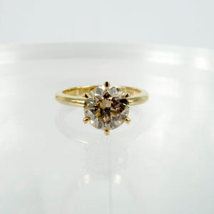 Image of Pj5737 18ct Yellow Gold Champagne Diamond Solitaire Ring