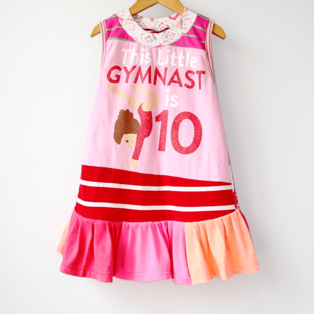 Image of gymnast gymnastic ten 10/12 10 pink and red party tenth 10th birthday bday shirt top gymnastics