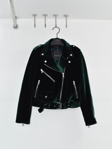 Image of KALEIDOSCOPE - Femme Velvet Biker Jacket (Green)
