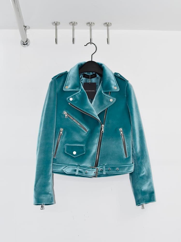 Image of KALEIDOSCOPE - Femme Velvet Biker Jacket (Placid Blue)