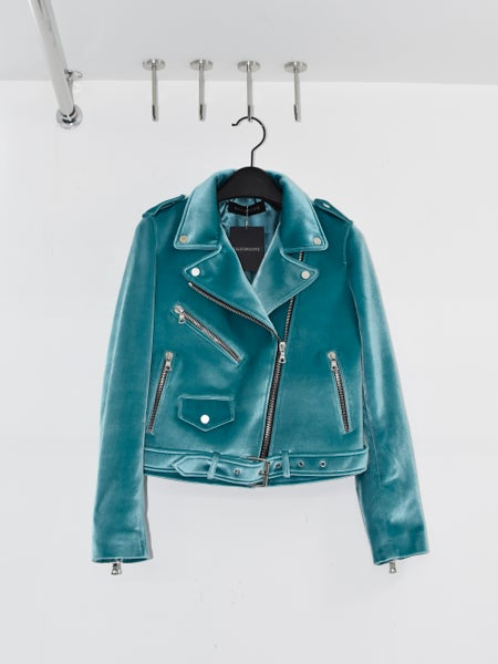 Image of KALEIDOSCOPE - Femme Velvet Biker Jacket (Placid Blue)