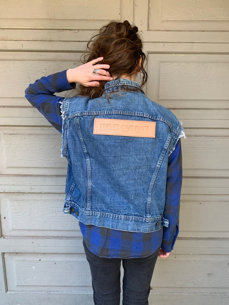 Image of Lee denim vest with Leather BURNOUT patch