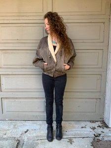 Image of Leather Batwing Bomber Jacket