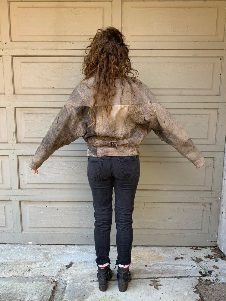Image of Leather Batwing Bomber Jacket