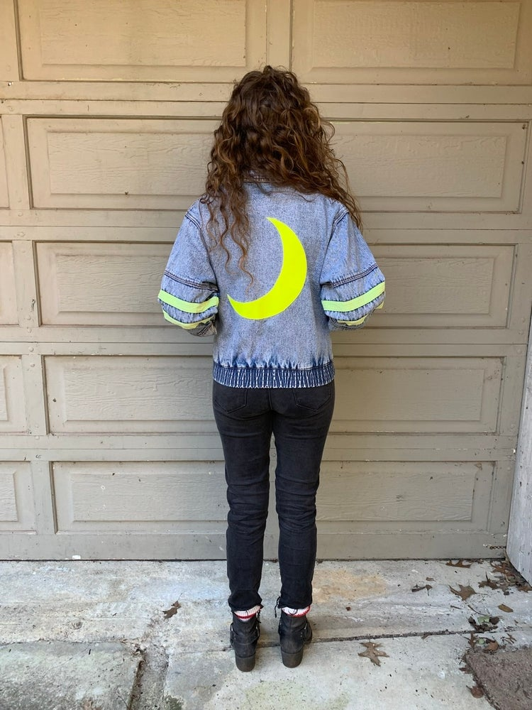 Image of Kid's Vintage Neon + Denim with Leather Moon Patch