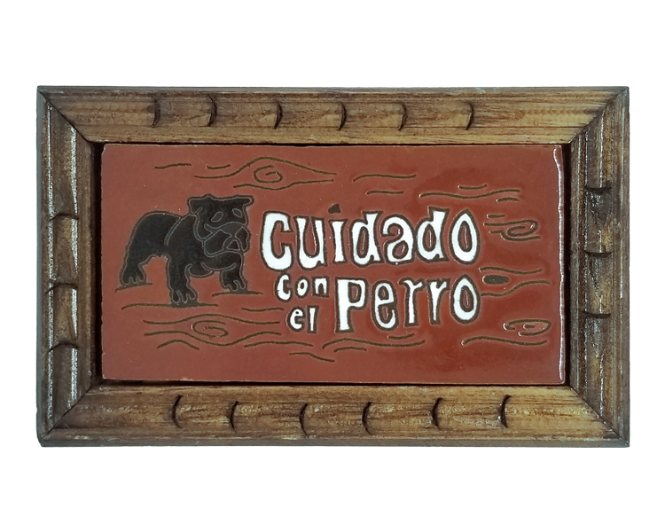 Image of Cuidado Perro Rectangle Wood Frame