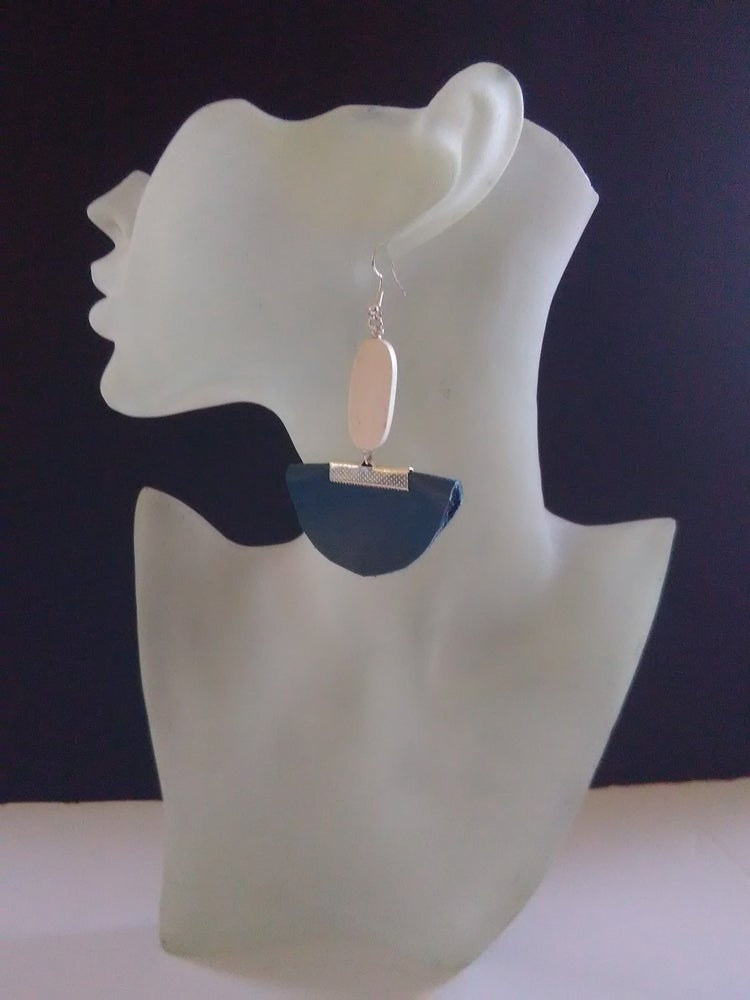 Image of Teal Leather Ear-Rings (1)