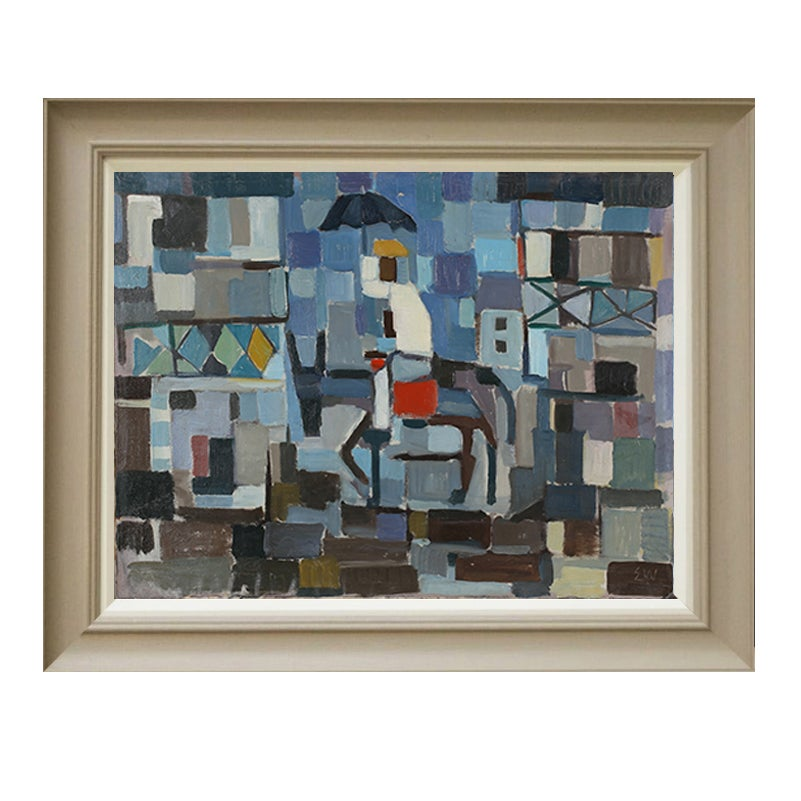 Image of Mid-century, Swedish Painting, 'Donkey Ride in the Sun.'