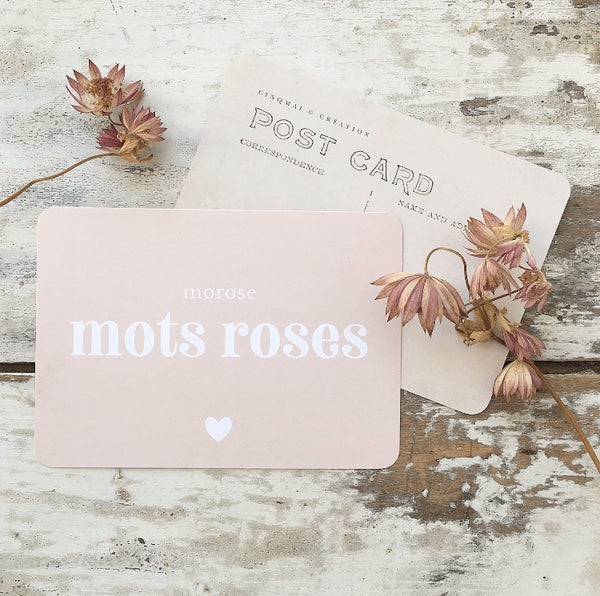 Image of Carte Postale MOTS ROSES