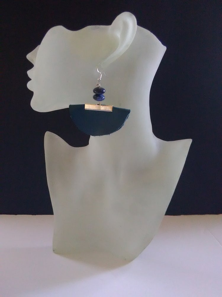 Image of Teal Leather Ear-Rings (2)