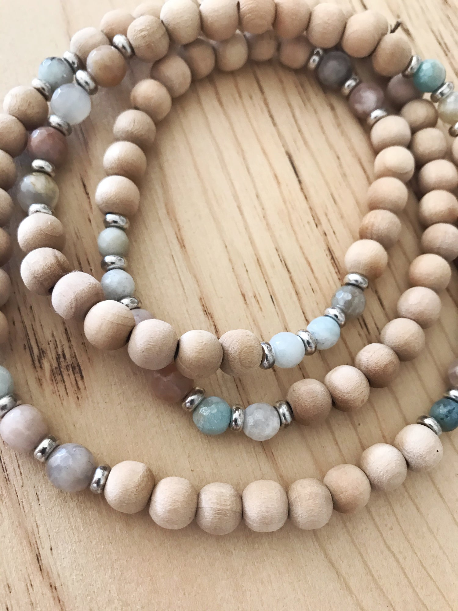 Image of Love Bead Necklace #106 - Dried Palm Wood Beads with Gemstones
