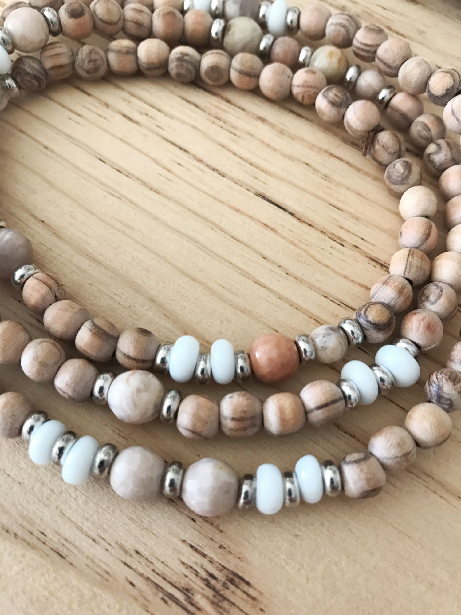 Image of Love Bead Necklace #107 - Raw Olive Wood Beads, Gemstones