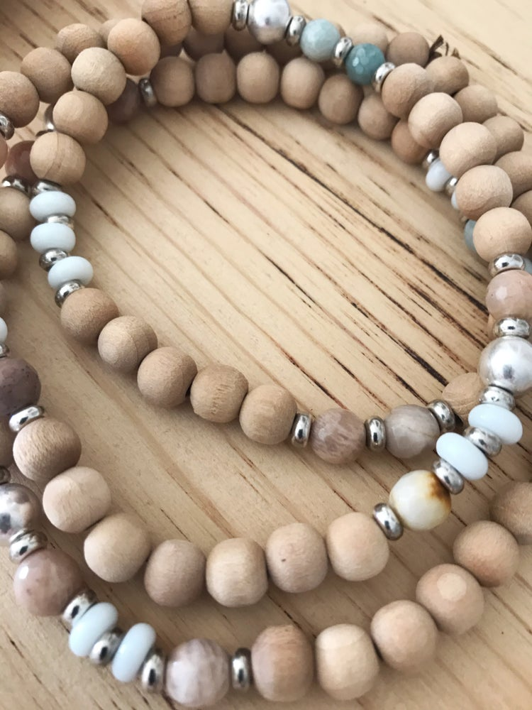 Image of Love Bead Necklace #108 - Dried Palm Wood Beads with Gemstones
