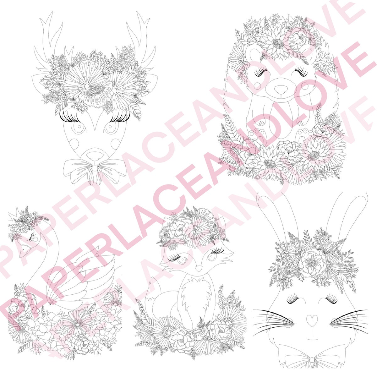 Image of Flower Friends Colouring Pages set of 5