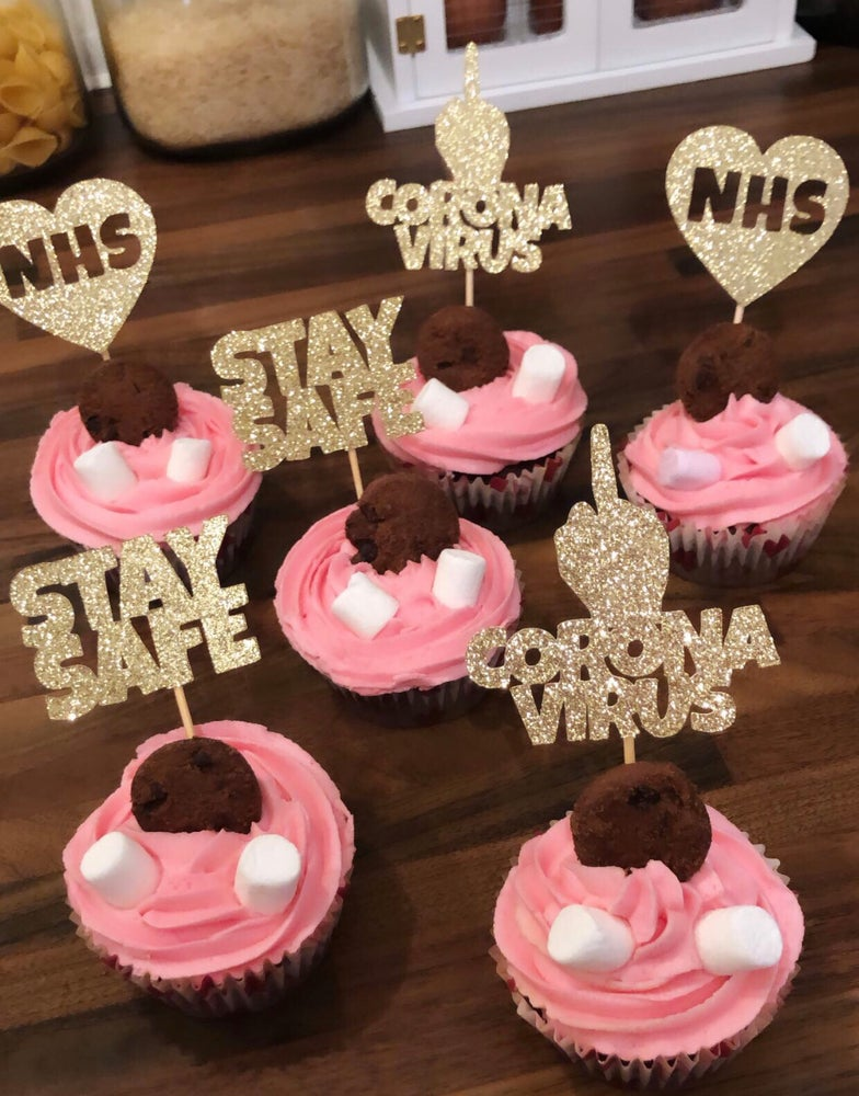 Image of STAY SAFE NHS CORONA cupcake toppers