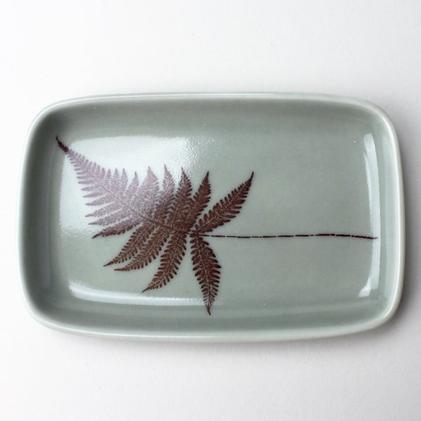 Image of small rectangular tray with fern, sage