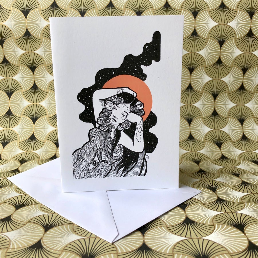 Image of Inktober: Sleeping Lady Blank Greeting Card