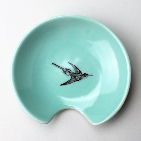 Image of spoon holder with hummingbird, aqua