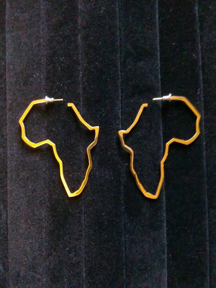 Image of Gold Plated Map Africa Stud Ear-Rings