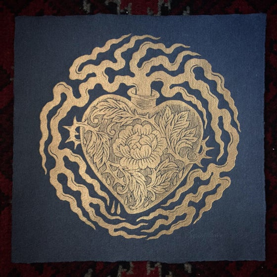 Image of 'Heartfelt' Gold on Black - Original Woodcut Print