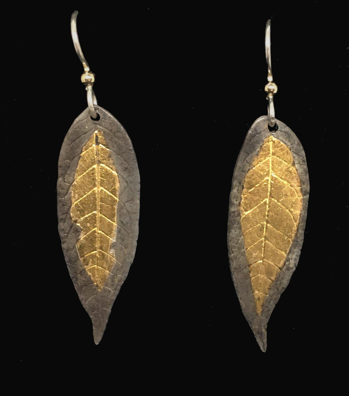Image of Leaf Drop Earrings with 24k Gold