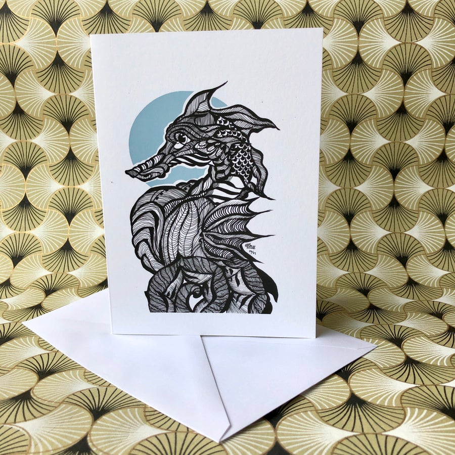 Image of Seahorse Blank Greeting Card