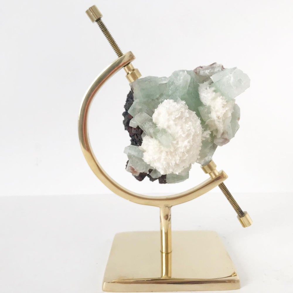 Image of Green Apophyllite Cluster no.03 + Brass Arc Stand