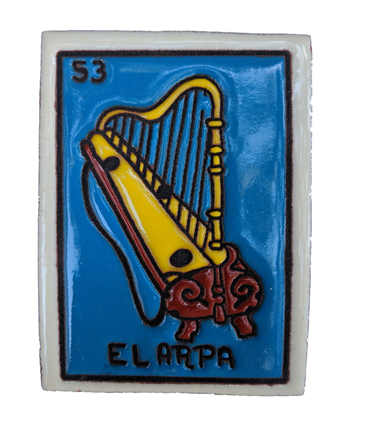 Image of El Arpa Loteria Wooden Frame