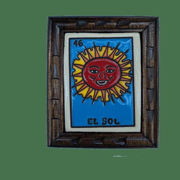 Image of El Sol Loteria Wooden Frame