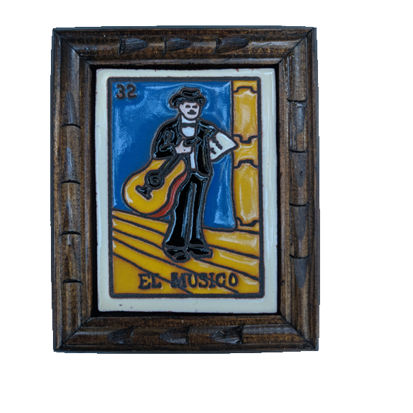 Image of El Musico Loteria Wooden Frame