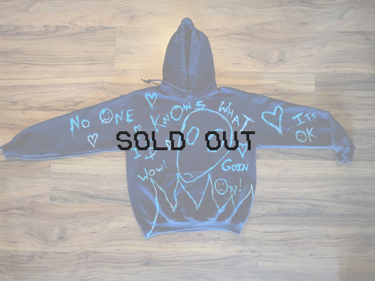 no one knows what is goin on - navy blue hoodie