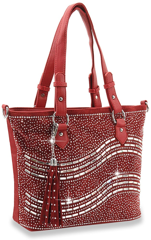 "Image of ""Sparkling"" Rhinestone and Gem Tote Purse"